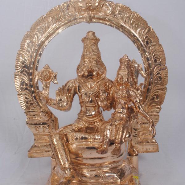 Arch Sitting Lakshmi Narasimmar Gun Metal Statue