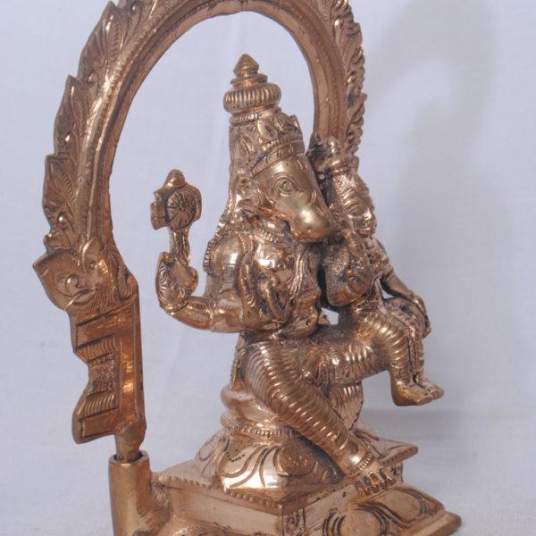 Arch Sitting Lakshmi Hayagreeva Gun Metal Statue